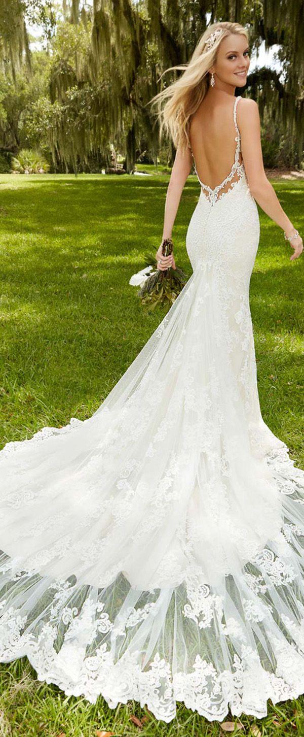 Elegant tulle spaghetti straps neckline mermaid wedding dresses with