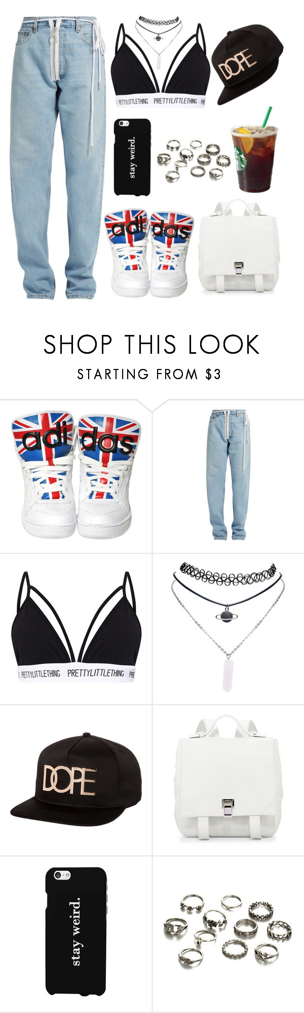 """""""PRETTYLITTLETHING"""" by vampirata ❤ liked on Polyvore featuring adidas, Off-White, Wet Seal, Dope, Proenza Schouler and LG"""