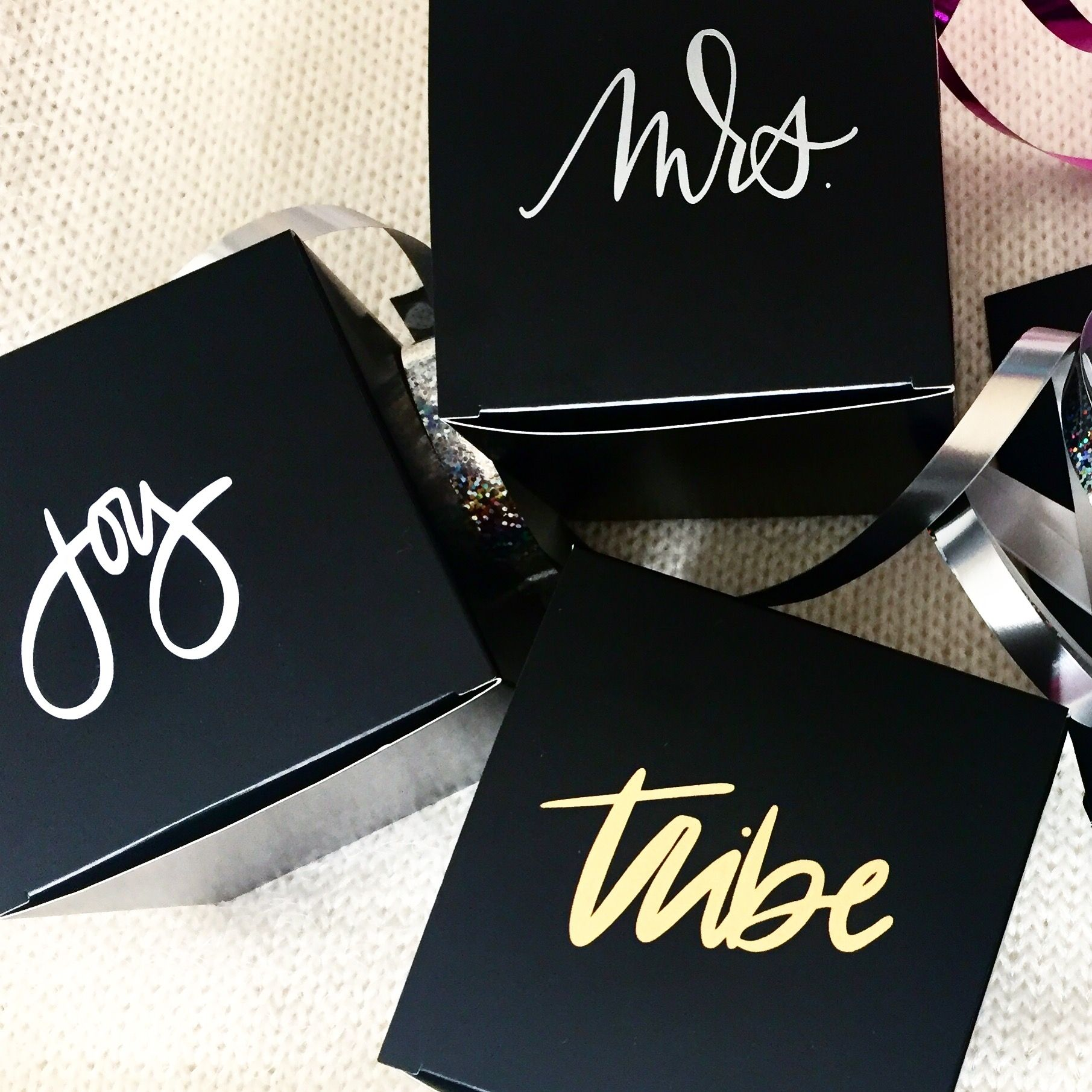 b30521575b52e Custom personalized small black gift boxes perfect for bridal or  bachelorette parties