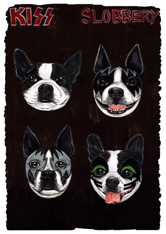 Boston Terrier As Kiss Get Your Slobbery Print One Of A Kind