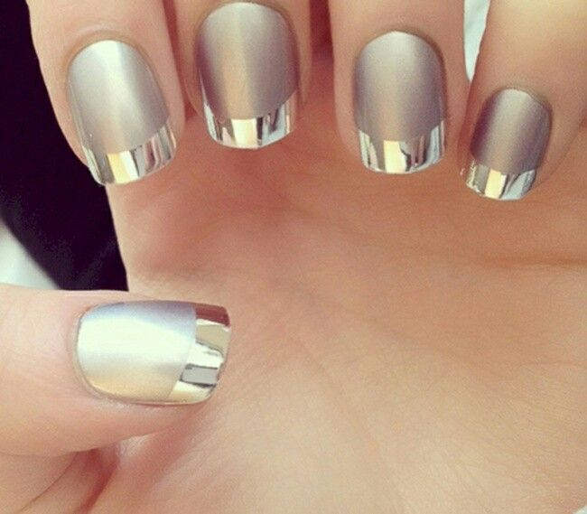 Silver And Chrome Nails Matte With Shiny Tips