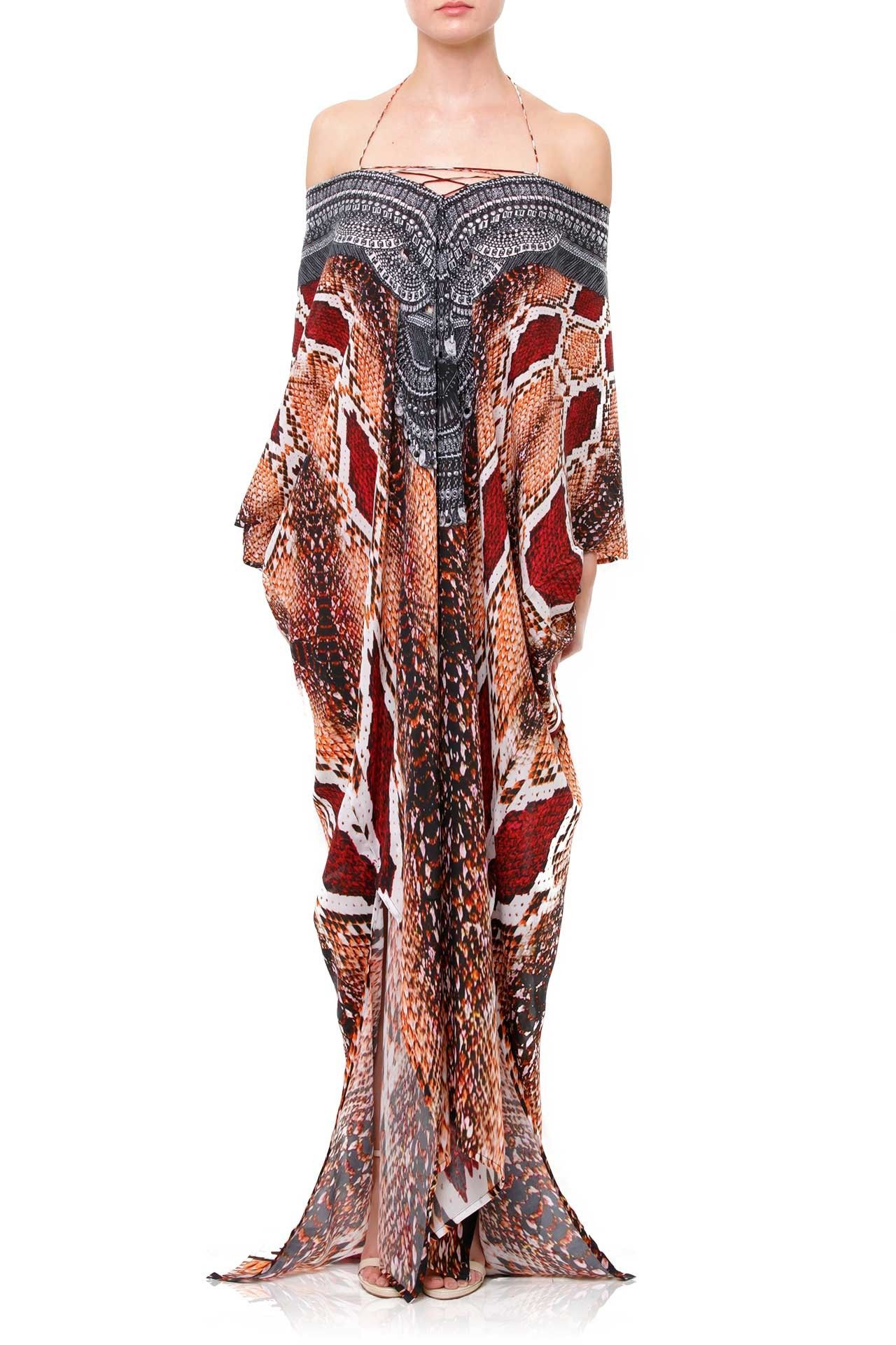 Burgundy dress in snake print kaftan dress long silk kaftans