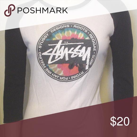 5129e60c Stussy RDYIM White Black Baseball Shirt XS Reggae Vintage 1990s Stussy  RYDIM For Jay Irie Feeling