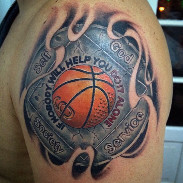 Basket basketball bball 3d tattoo | Bball | Pinterest | 3d tattoos ...