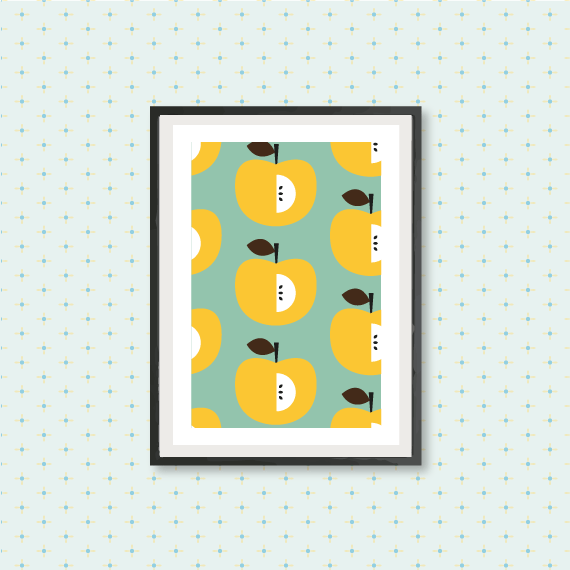 kitchen art print, yellow apple pattern, kitchen fruit wall art ...
