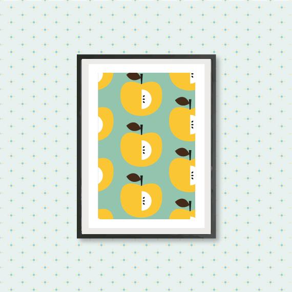 kitchen art print, yellow apple pattern, kitchen fruit wall art ...