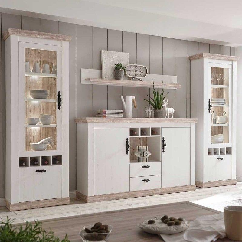 Landhaus Wohnmöbel Set mit Sideboard in Weiß mit Kiefer Shabby - Nedita (4-teilig)