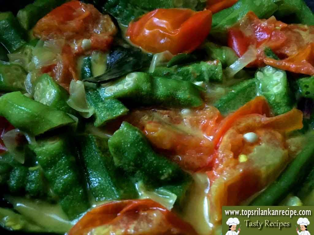 Okra tomato coconut curry in sri lankan style easy ladys finger okra tomato coconut curry in sri lankan style easy ladys finger milk curry recipe how to make vendakka paal curry jaffna style healthy vegetarian dish forumfinder Choice Image