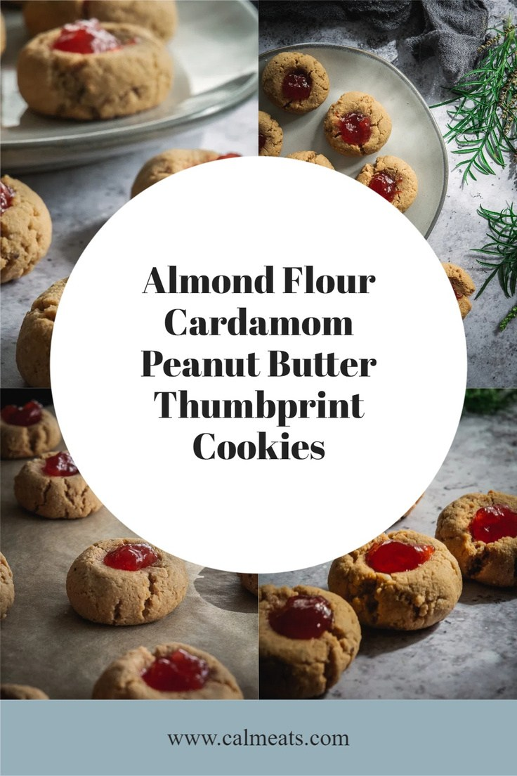 Almond Flour Cardamom Peanut Butter Thumbprint Cookies are flavorful, light, and delicious. They're also paleo, gluten, and dairy-free. #almondflourcookies #grainfreecookies #glutenfreecookies #glutenfreedairyfreecookies #paleocookies #paleopeanutbuttercookies #grainfreepeanutbuttercookies #glutenfreepeanutbuttercookies #thumbprintcookies #glutenfreethumprintcookies #glutenfreechristmascookies