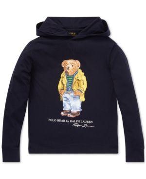 9341a41f Polo Ralph Lauren Big Boys Polo Bear Hooded Long-Sleeve Cotton T ...