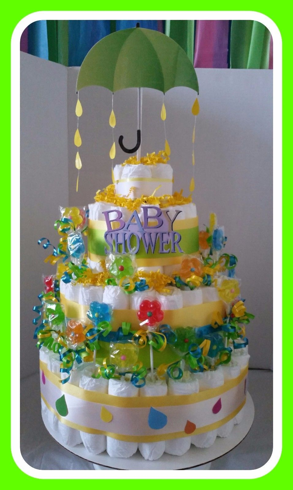 Diaper Cake Umbrella Sucker Unisex Boy Girl Baby Shower Gift Set