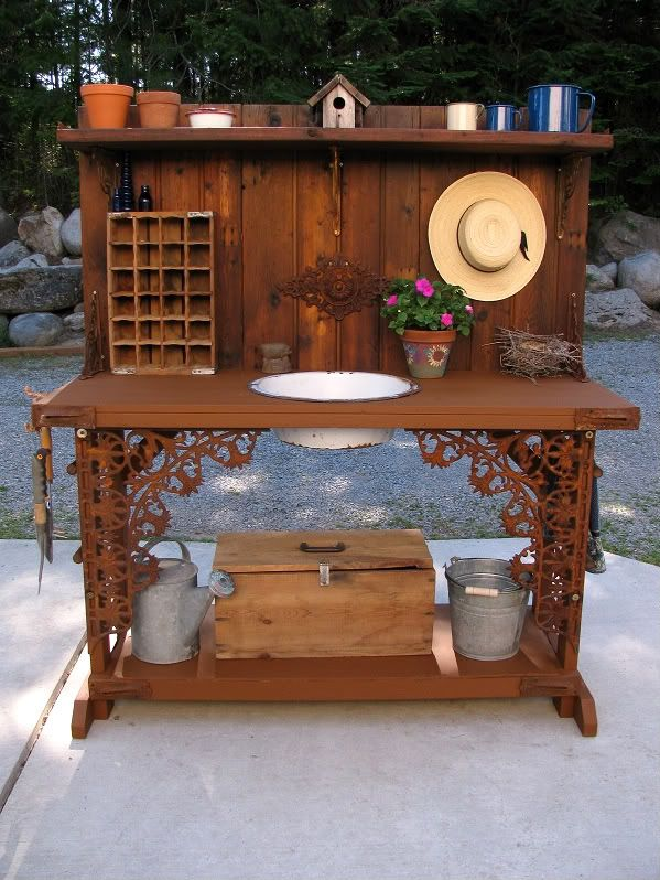 Kirku0027s Garden Potting Bench From GardenWeb. Fabulous! Junk And Other  Goodies Make A Wonderful