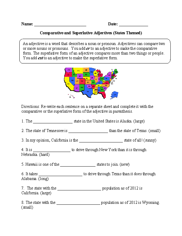 4th Grade free adjective worksheets for 4th grade : States Comparative and Superlative Adjectives Worksheet ...