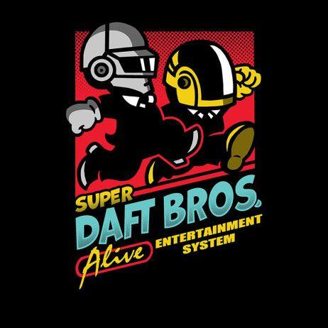 Nintendo: Mario Bros game box / Daft Punk mashup t-shirt
