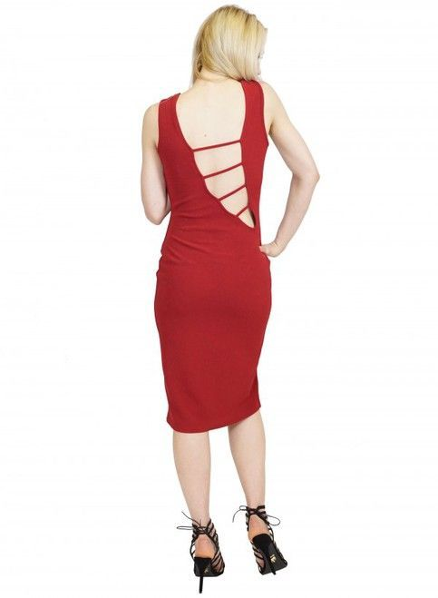 Cool Bodycon Wine Red Dress with Cutout Back & Leg!