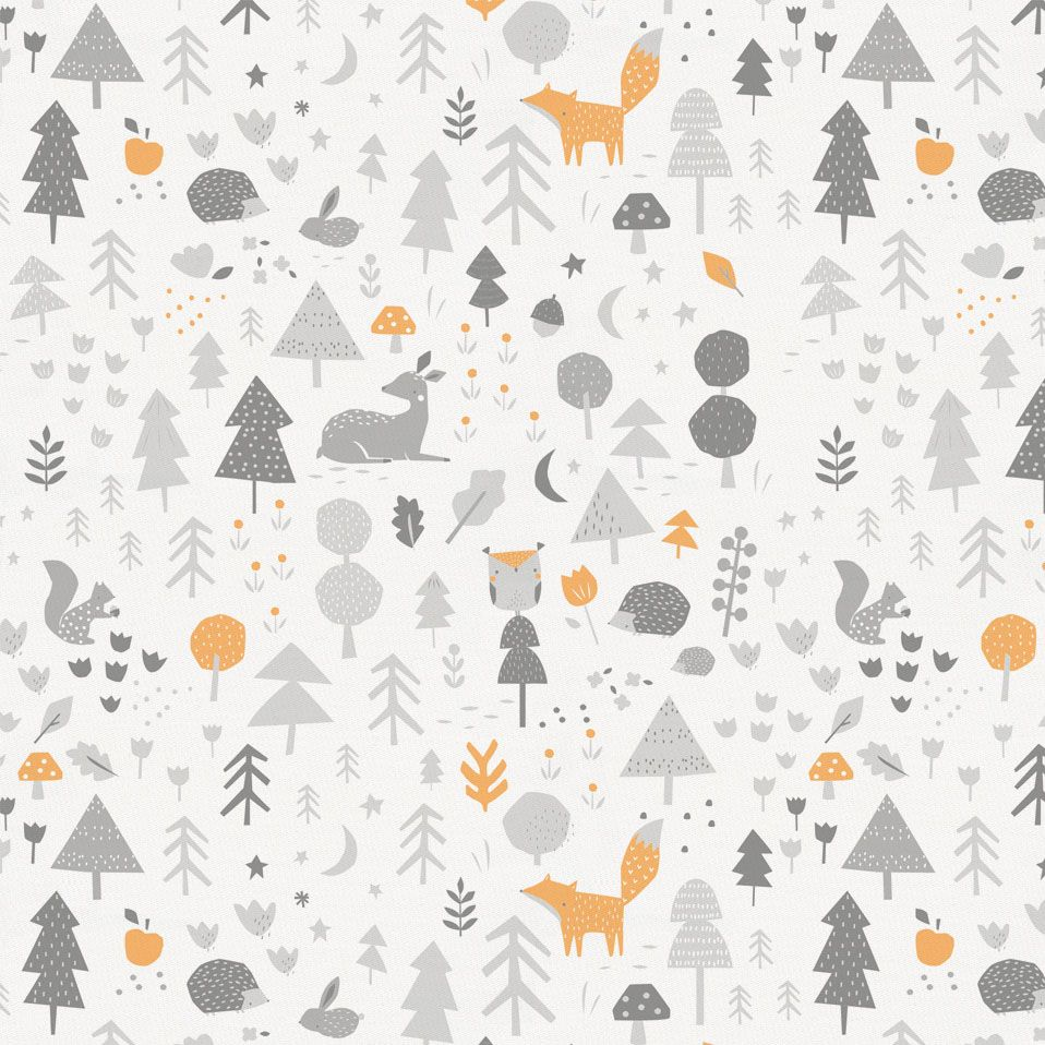 Light Orange And Silver Gray Baby Woodland Fabric By Carousel Designs