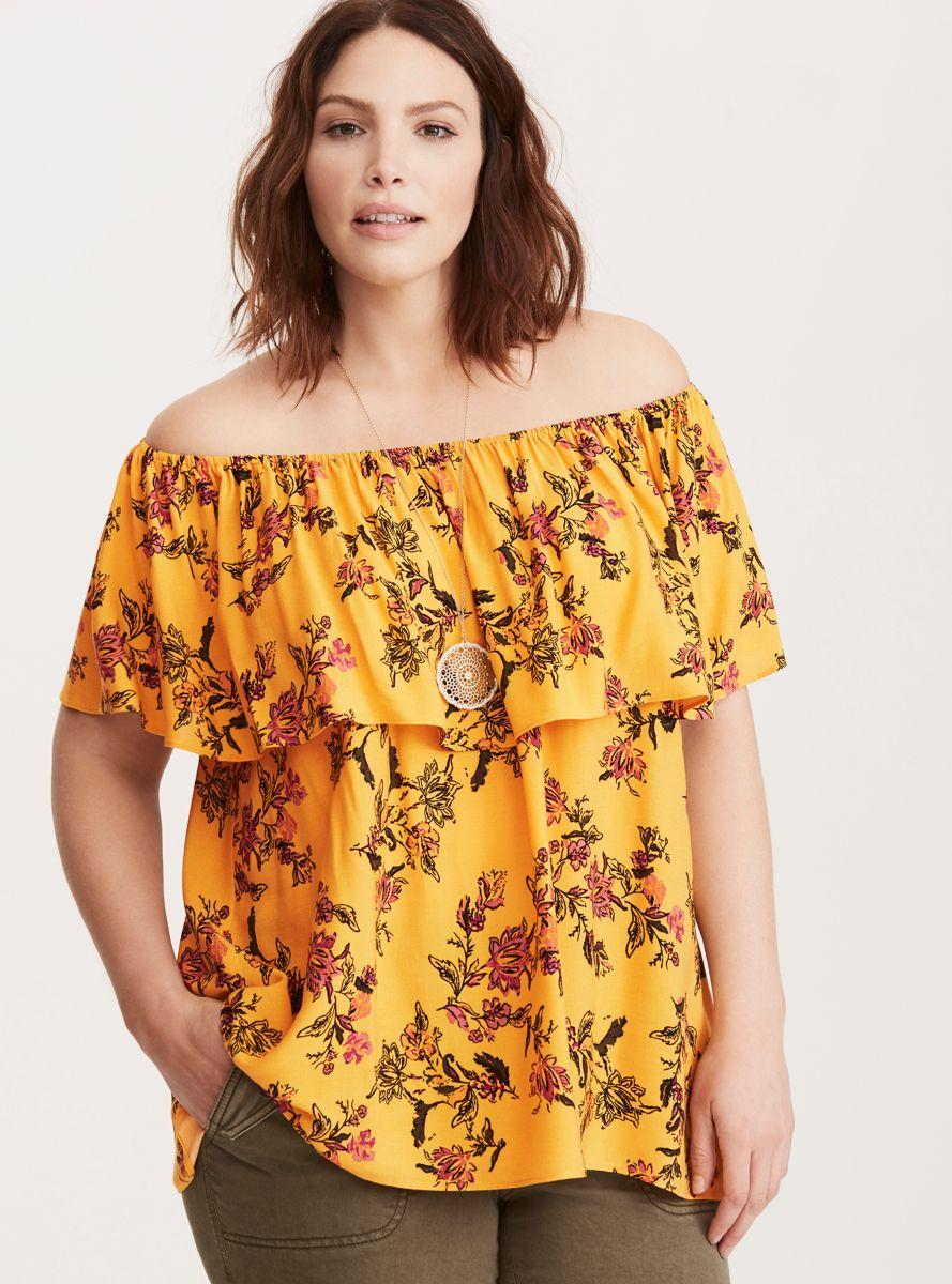 90729a34d60f1b Floral Print Ruffled Off Shoulder Top