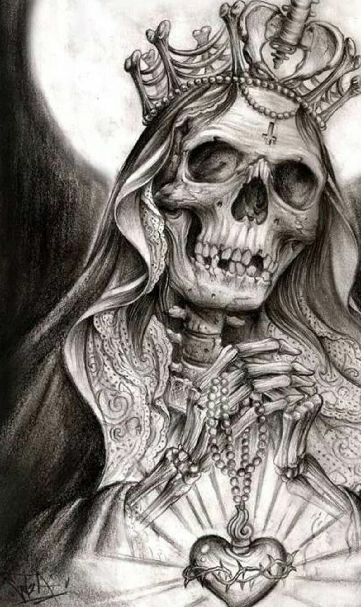 Tat Idea Santa Muerte Craneos Tattoo Como Dibujar Tatuajes