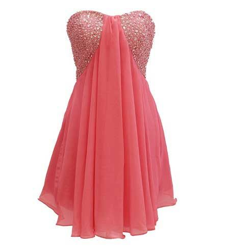 coral prom dresses | 2014 Coral red short plus size rhinestone ...