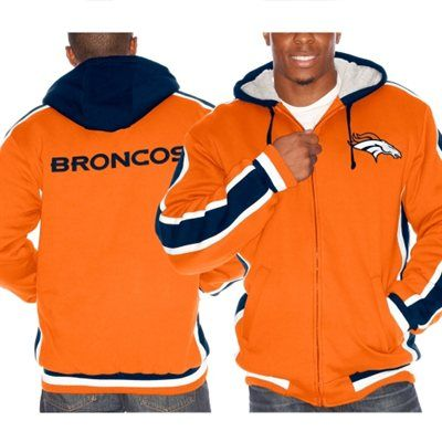 Mens Denver Broncos  Orange Chop Block Full Zip Fleece Hoodie