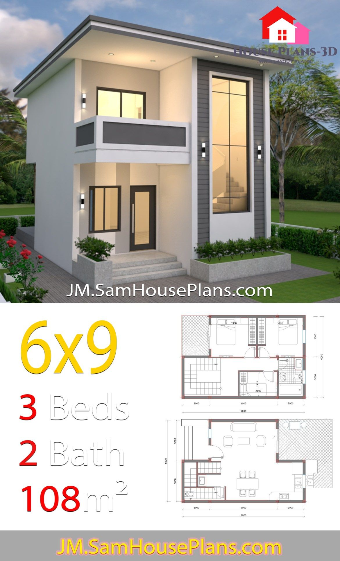 House Design 6x9 With 3 Bedroom Slap Roof House Plans Layout 3d House Plans House Design House Roof