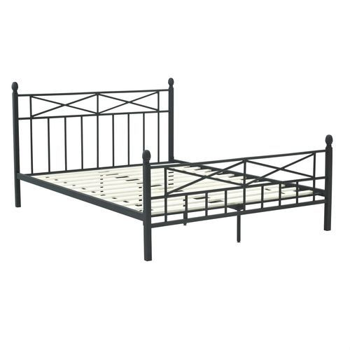 Best Queen Matte Black Metal Platform Bed Frame Headboard 640 x 480