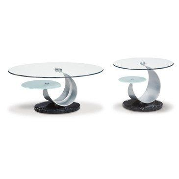 Global Furniture Usa Juno Oval Glass Top Coffee Table In Black By