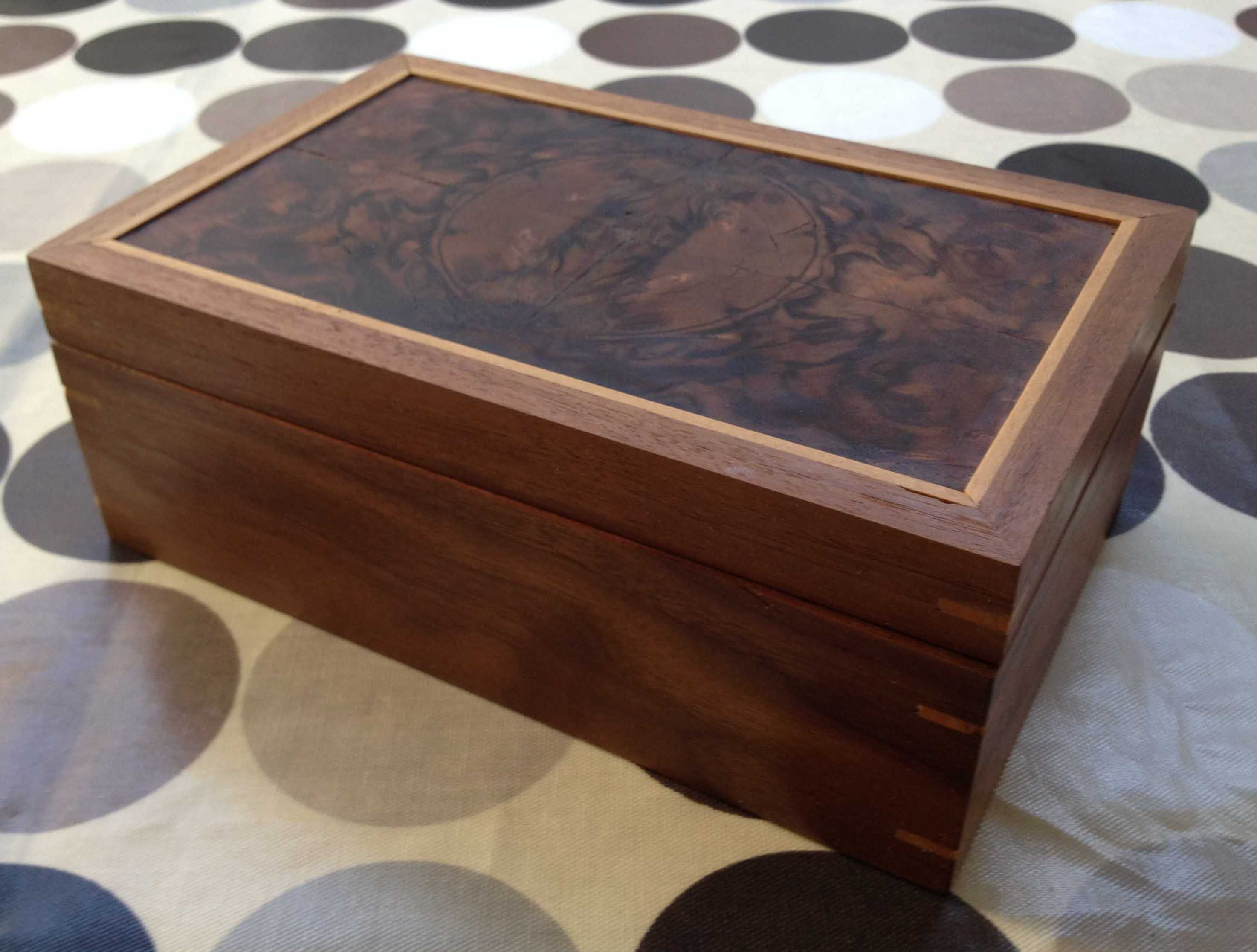 Veneered Jewellery Box in solid American Walnut with a 4way book
