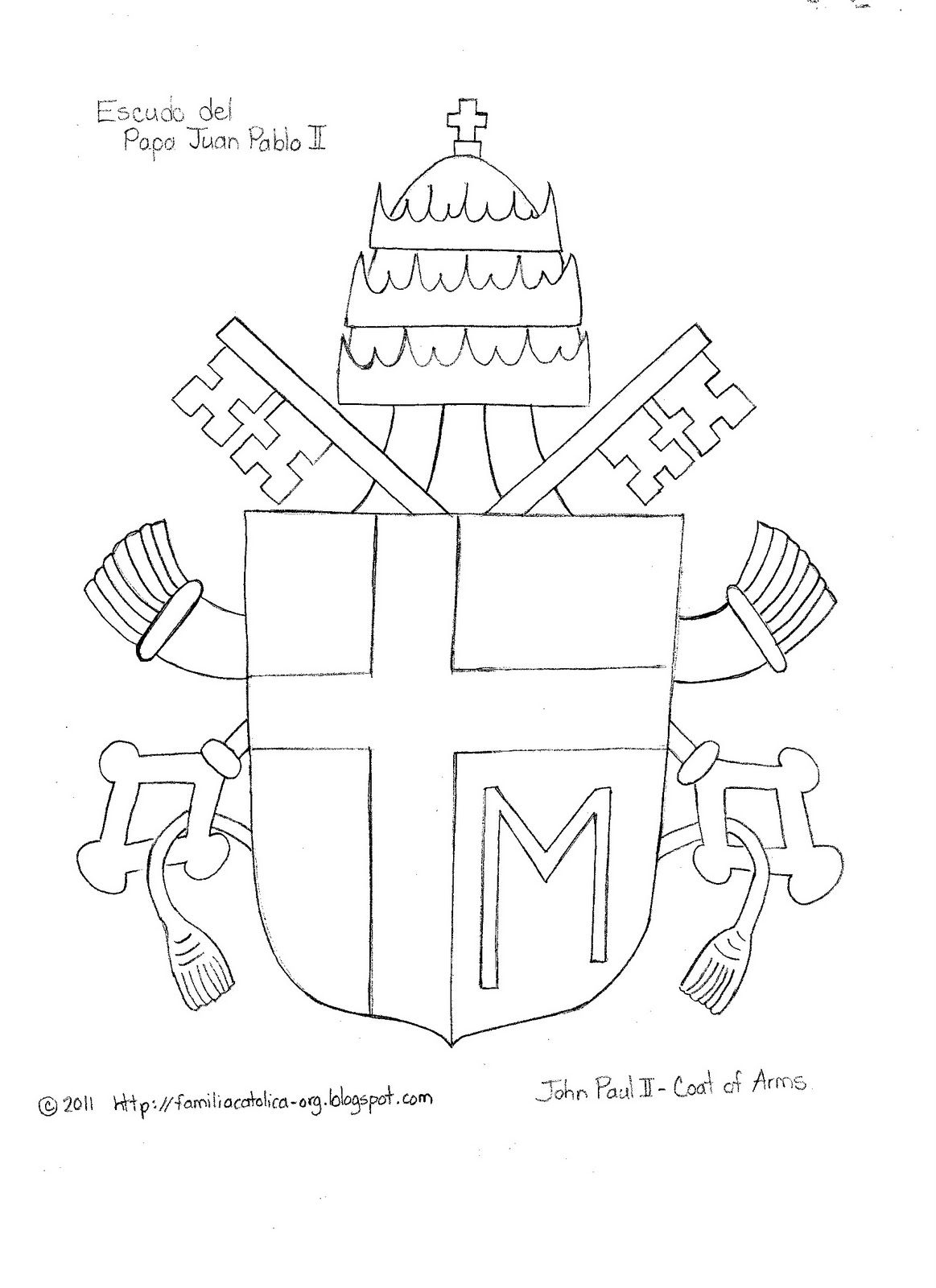 Familia Católica: Escudo para Colorear del Papa Juan Pablo II | San ...