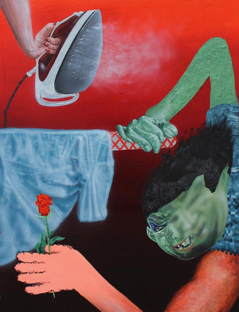 Trey Abdella, Trey Abdella, Rose, acrylic on canvas pop
