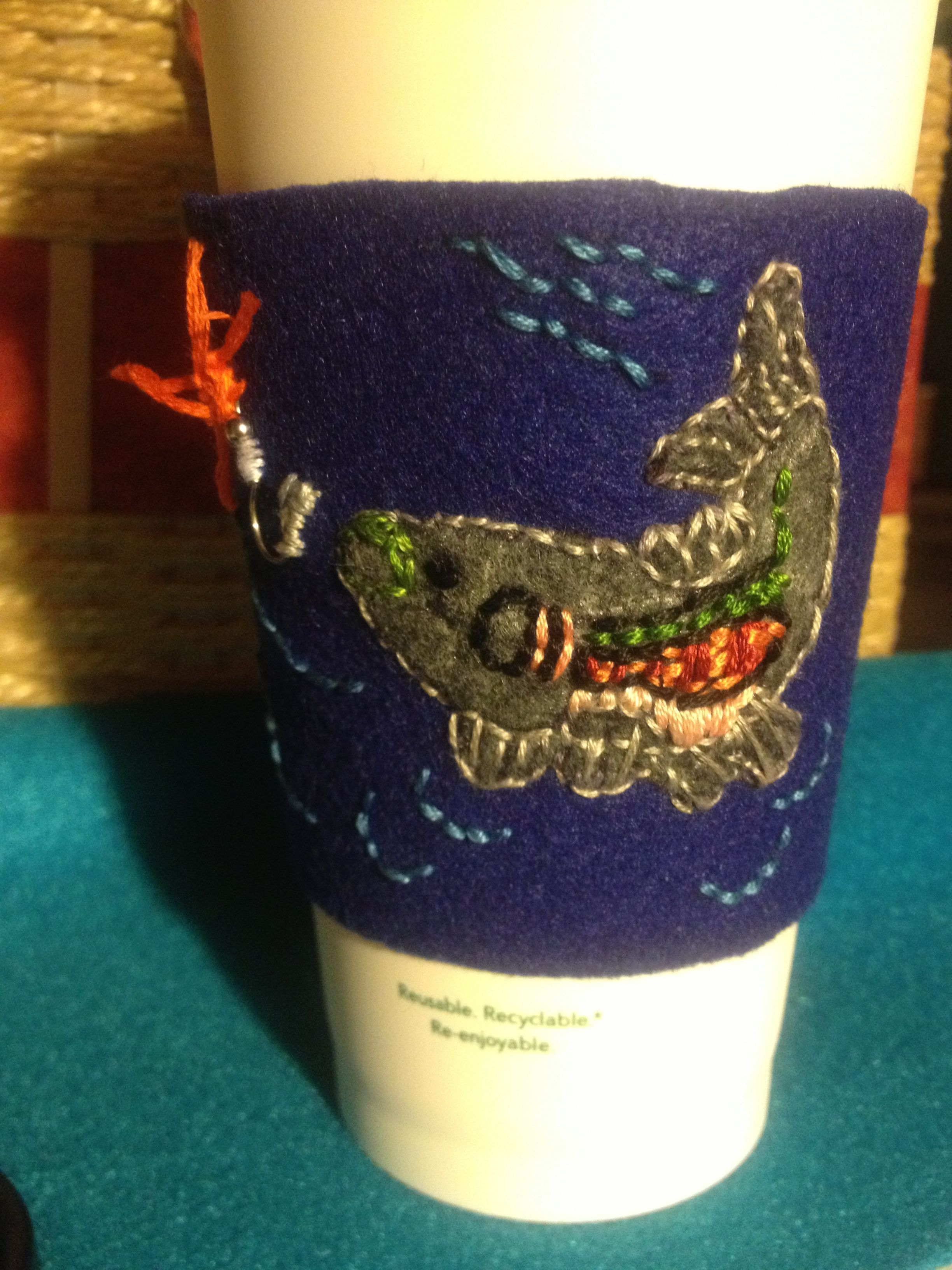 Embroidered Fish Coffee Sleeve