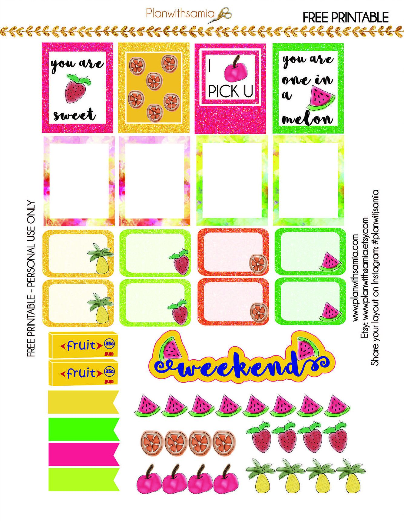 FREE Freebie - Juicy Fruits by planwithsamia