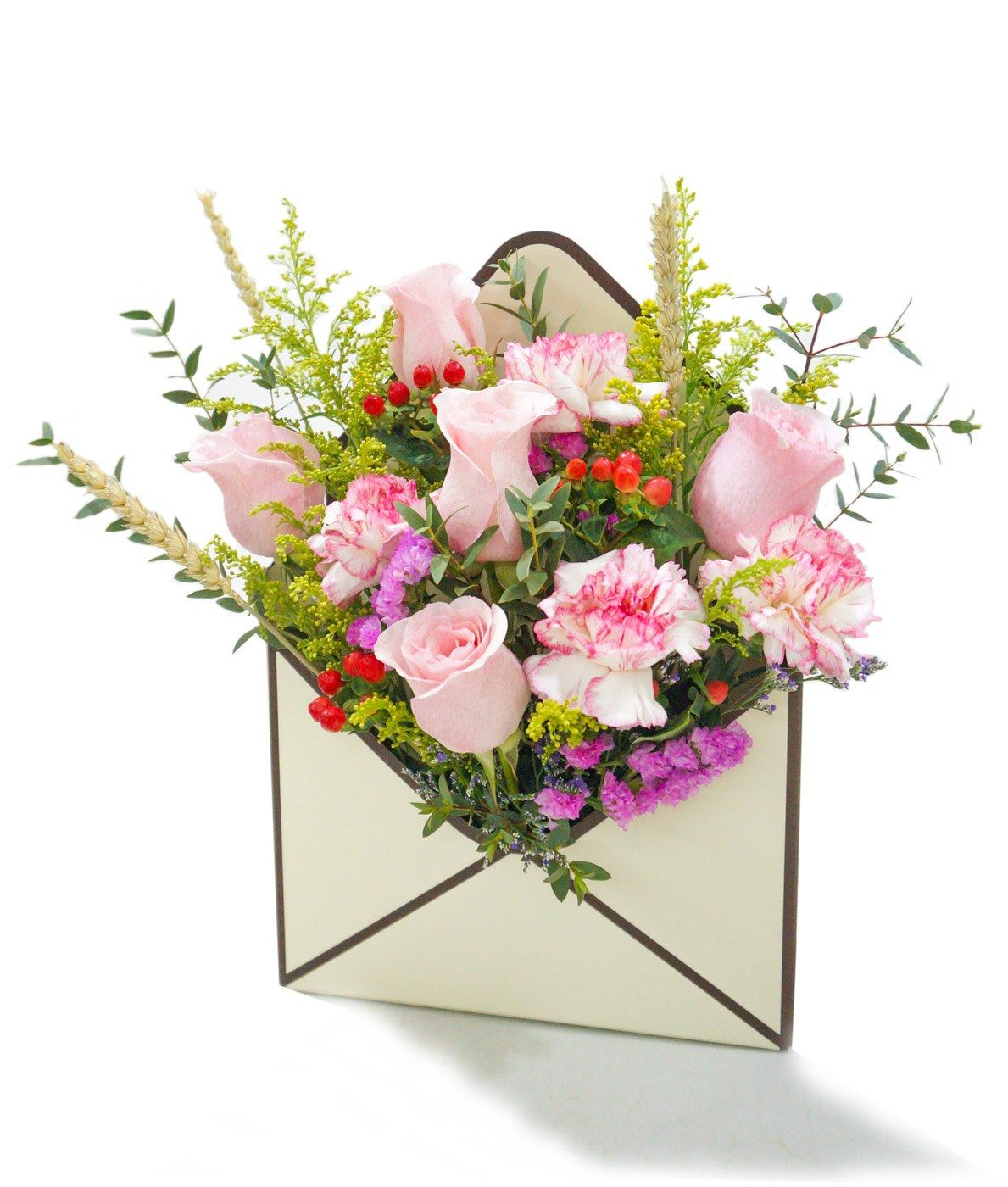 Pink rose envelope flower box Flower boxes, Flowers