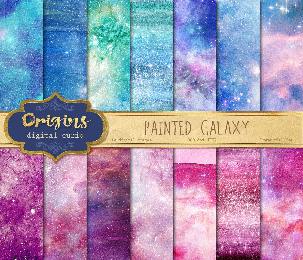 Painted Galaxy Digital Paper Watercolor Starry Night Backgrounds