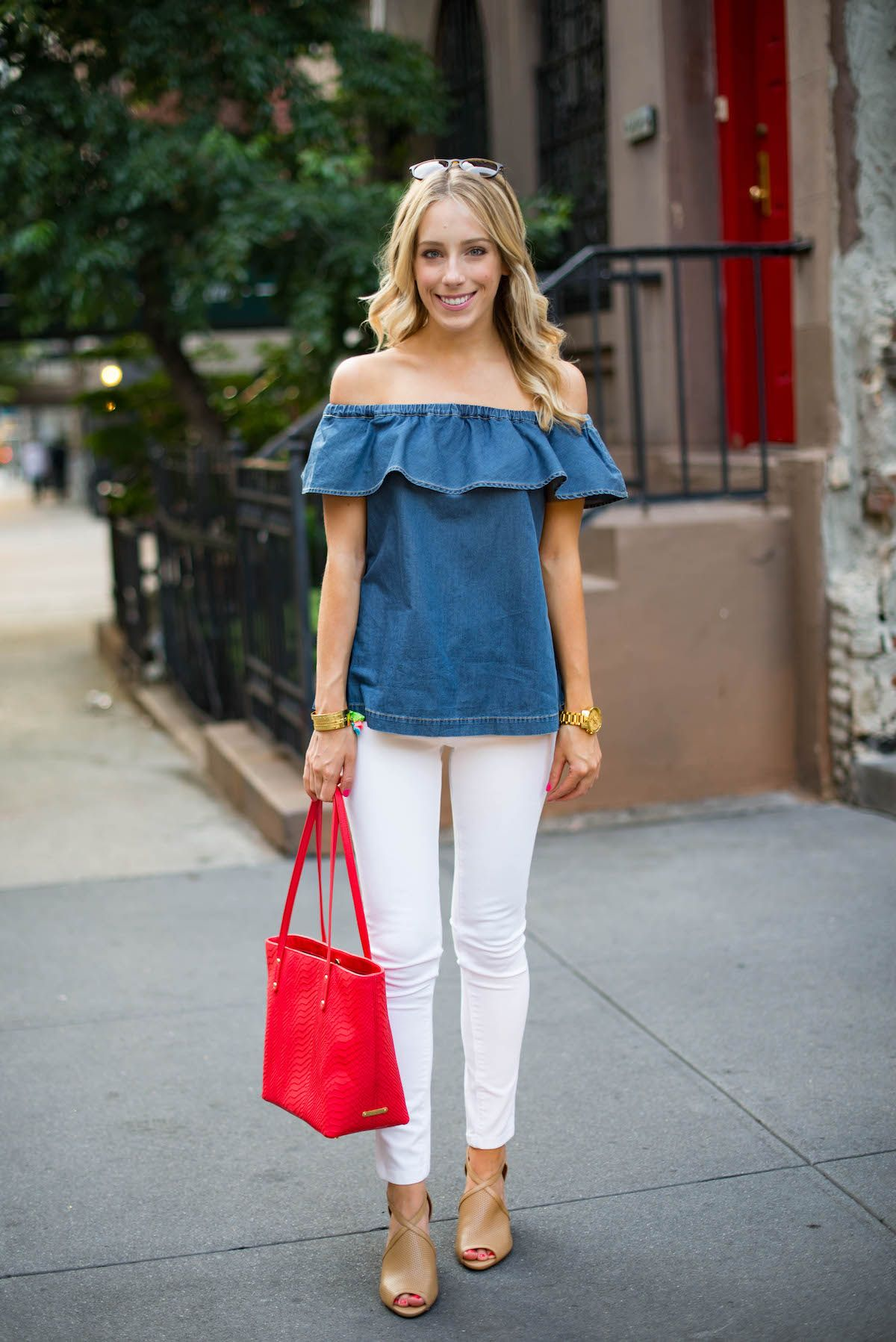 Summer Outfit Inspiration: Off The Shoulder Chambray Top