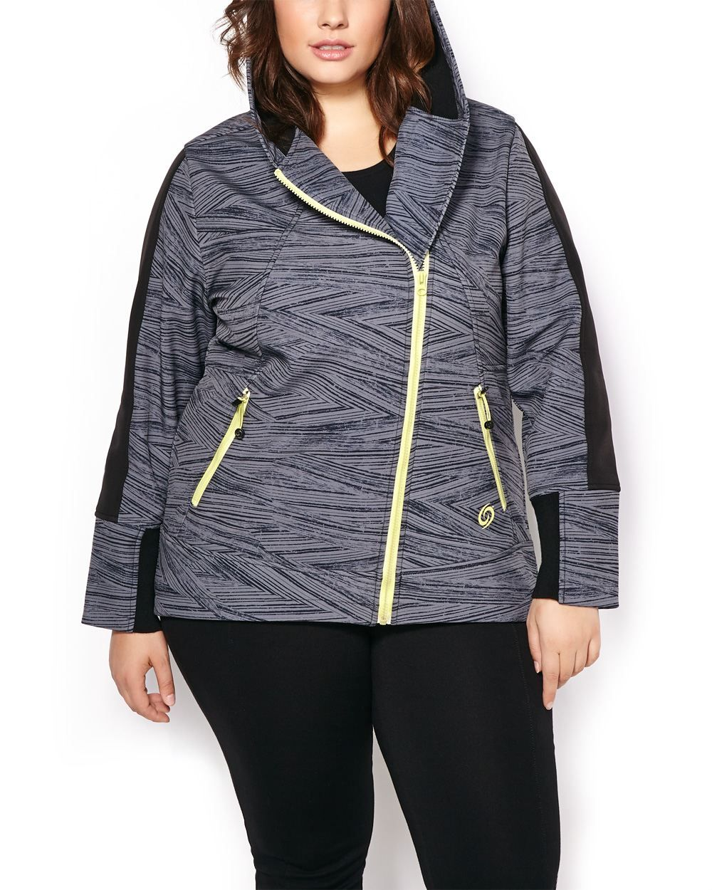 6dbc9852afdd7 ActiveZone Plus-Size Hooded Printed Jacket