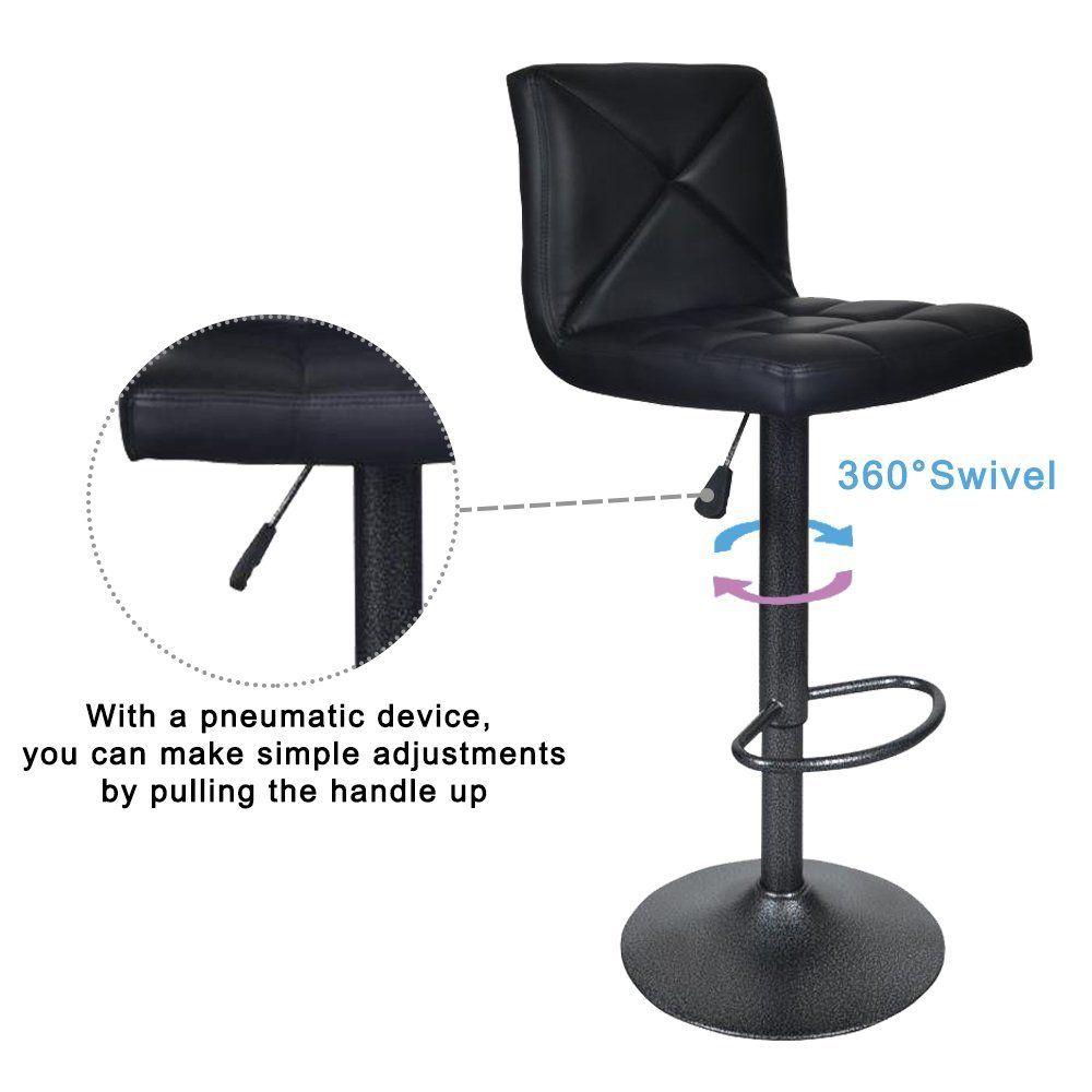 Bar Stools Modern Black Pu Leather Barstools With Back Adjustable