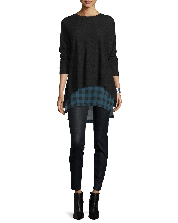 6c636f2689c27a Eileen Fisher Sleeveless Buffalo Check Silk Tunic | Get in my Closet ...