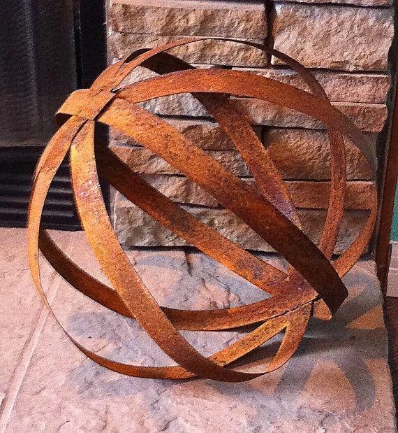 Rustic Sheet Metal Sphere Metal Yard ArtGarden By TopangaPatina