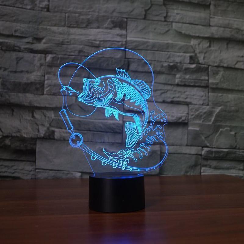 Fishing Bass Masters 3d Led Night Lamp Led Night Lamp Fish Lamp 3d Led Lamp