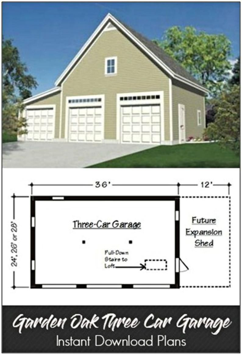 Garden Oak Two Three And Four Car Plans With Lofts And Etsy In 2021 Shed Construction Plan Garage Plans