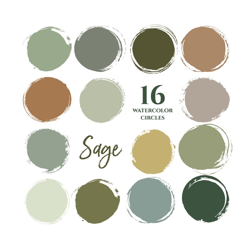 Sage Green Earthy Neutrals Colors Instagram Story Highlight Etsy Earthy Color Palette Green Colour Palette Watercolor Circles