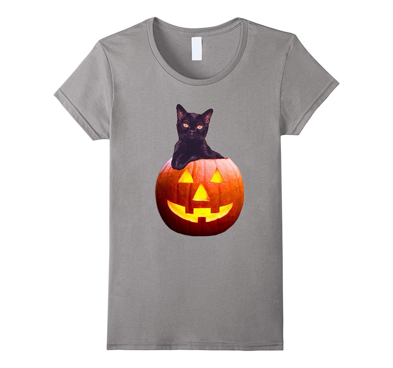 Halloween Pumpkin Cat Shirt Funny Cat In a Lantern Pumpkin T-Awarplus