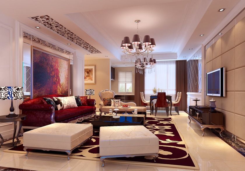 Classy Modern Living Room Design With Luxury Red Sofa And ...