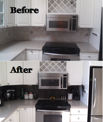 Quick Kitchen Backsplash Revamp Using Peel And Stick Vinyl Tiles Diy Vinyl Tiled Backsplash Vinyl Tile Backsplash Vinyl Backsplash Diy Kitchen Backsplash