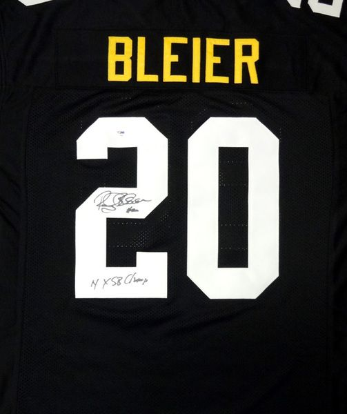 "Rocky Bleier Autographed Pittsburgh Steelers Black Jersey """"4X SB Champ"""" PSA/DNA Stock"