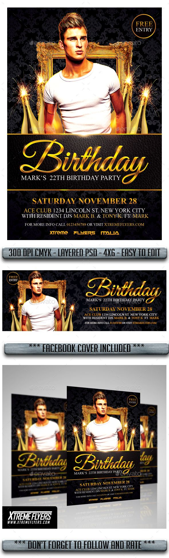 Birthday Flyer  Flyer Template Party Flyer And Font Logo