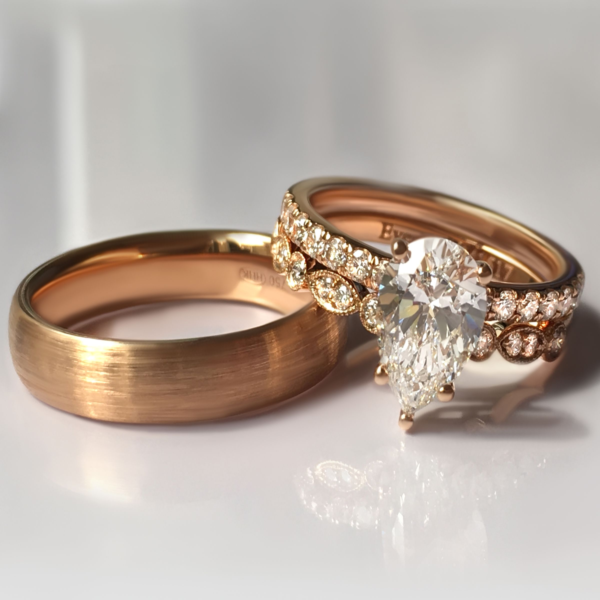 ring brushed rings gold diamond store engagement