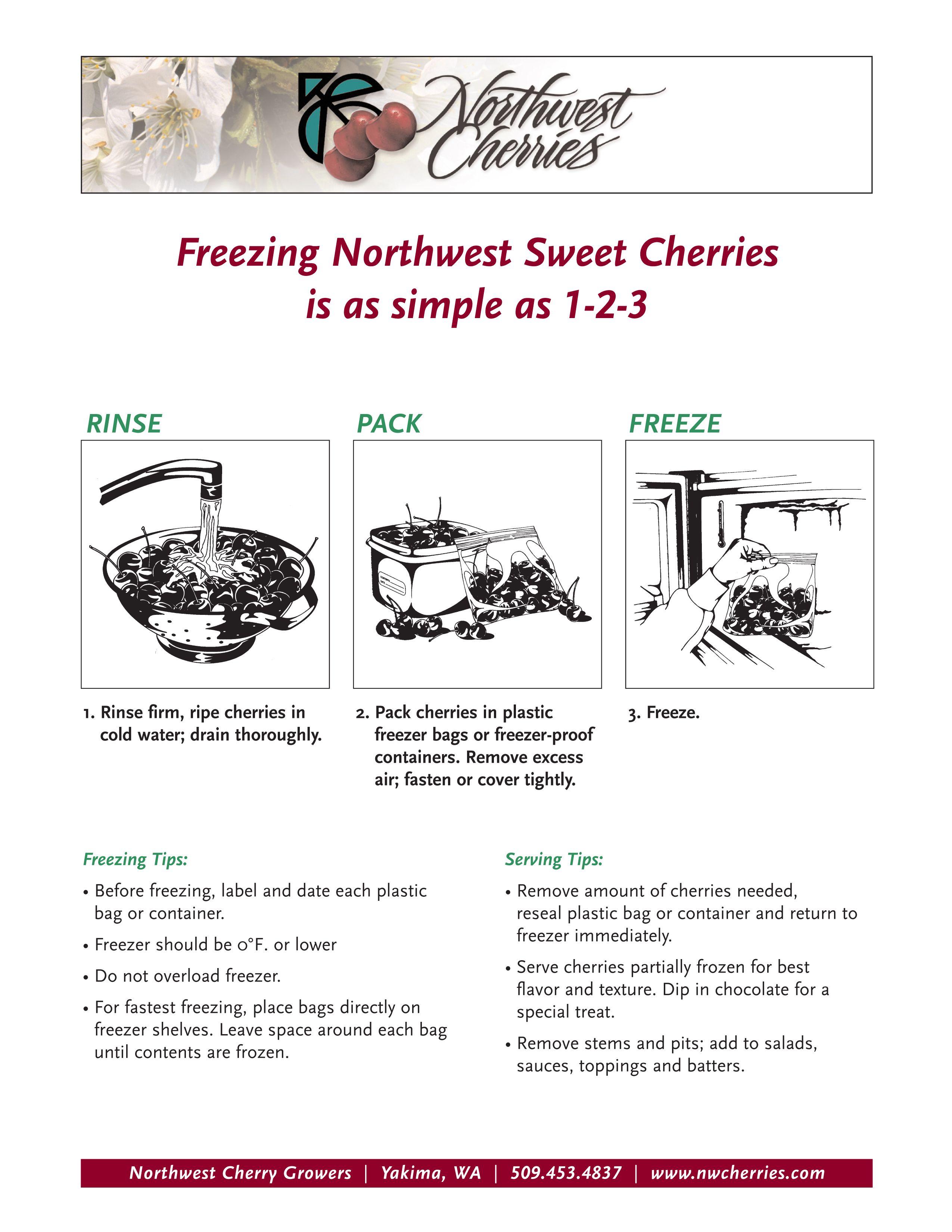 Freezing Northwest Sweet Cherries is as simple as 1-2-3.