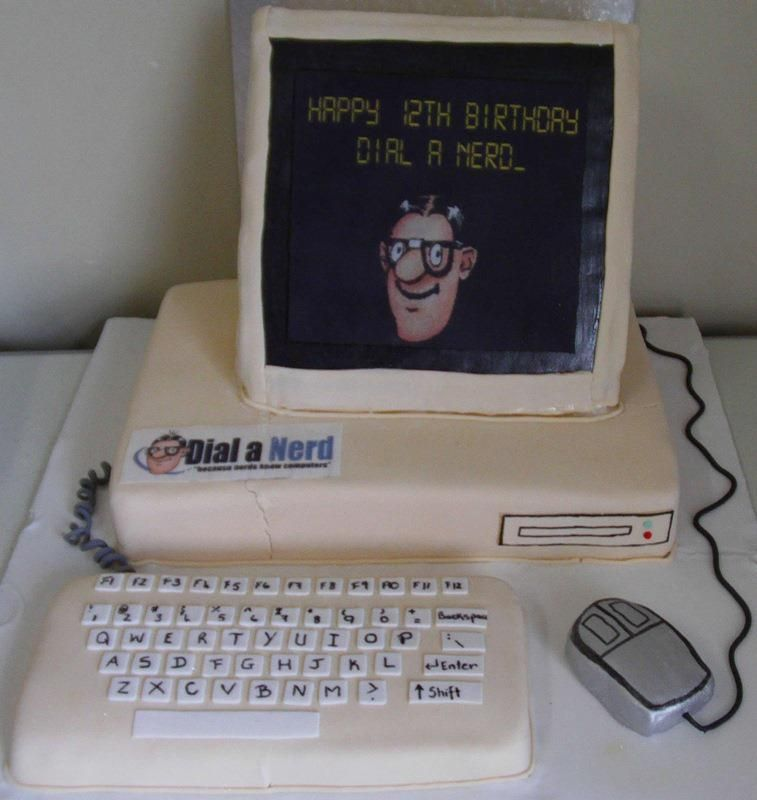 Happy Birthday Computer Nerd Cake Pc Design  Computer -2592